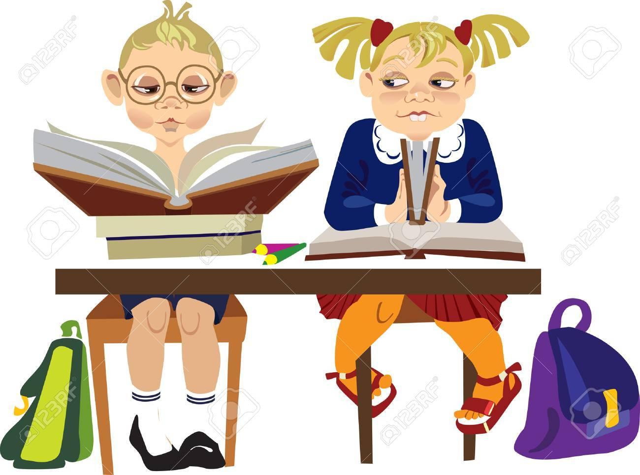 сhildren reading books in library Stock Vector - 4259530
