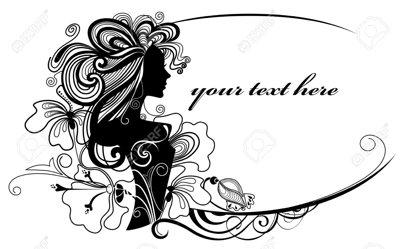 vector illustration of a decorative frame with a silhouette of the girl and flowers