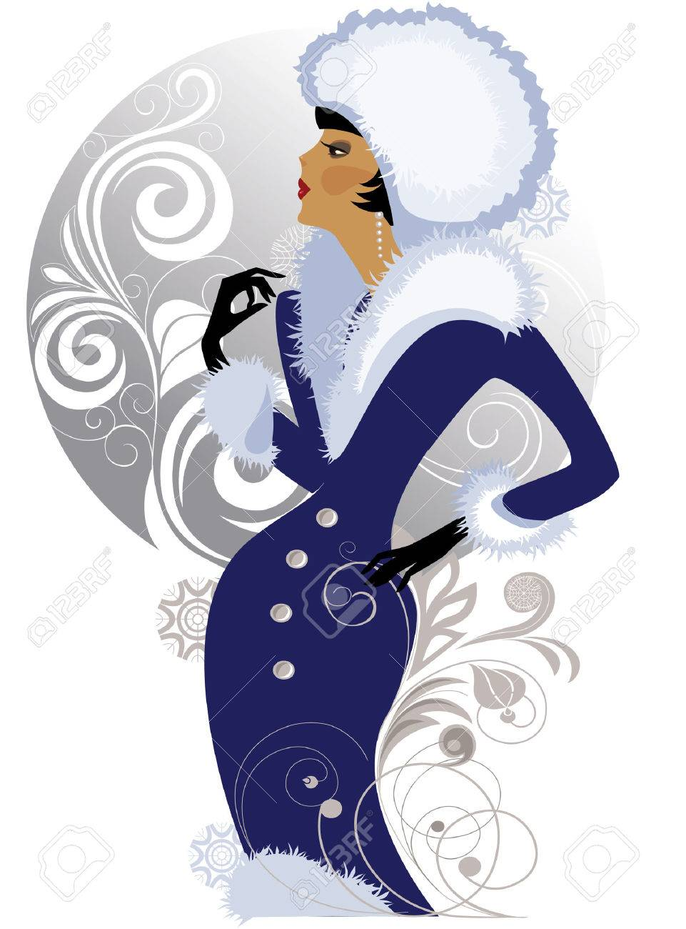 illustration of a elegant lady in winter clothes Stock Vector - 5703606