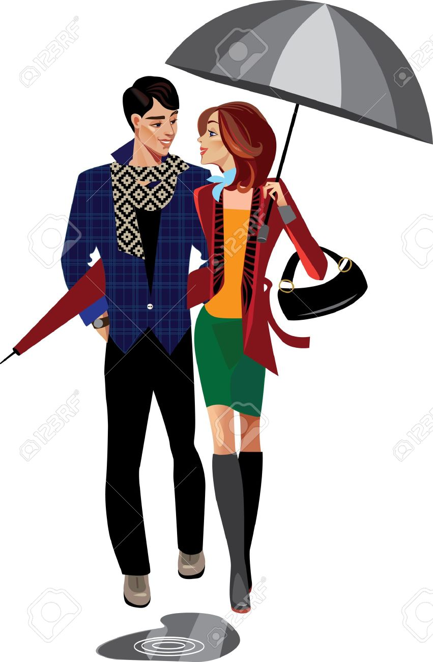 man and woman with umbrella Stock Vector - 10559758