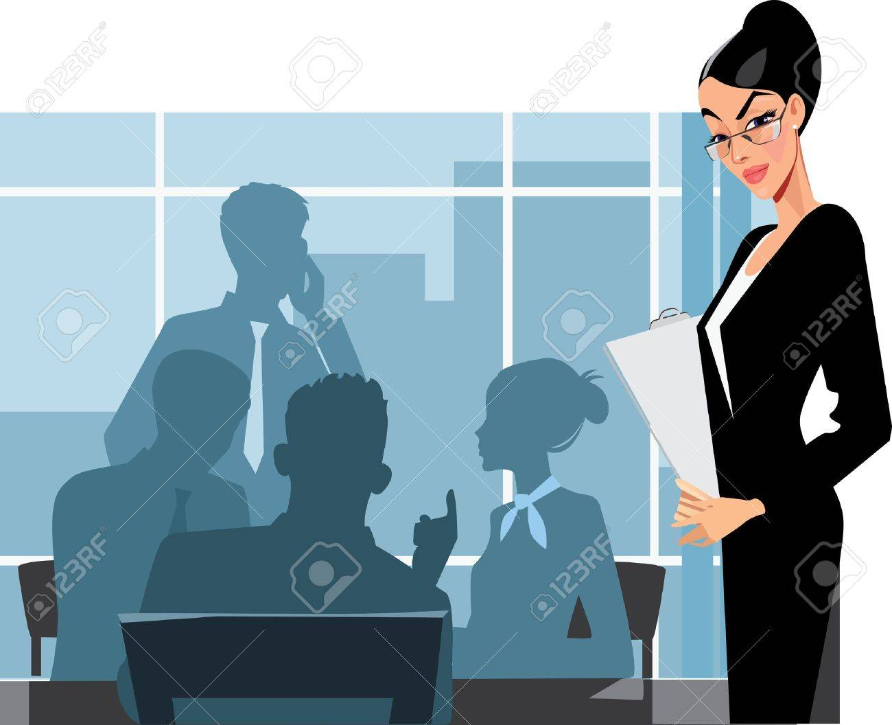 business woman and staff in office Stock Vector - 13033847