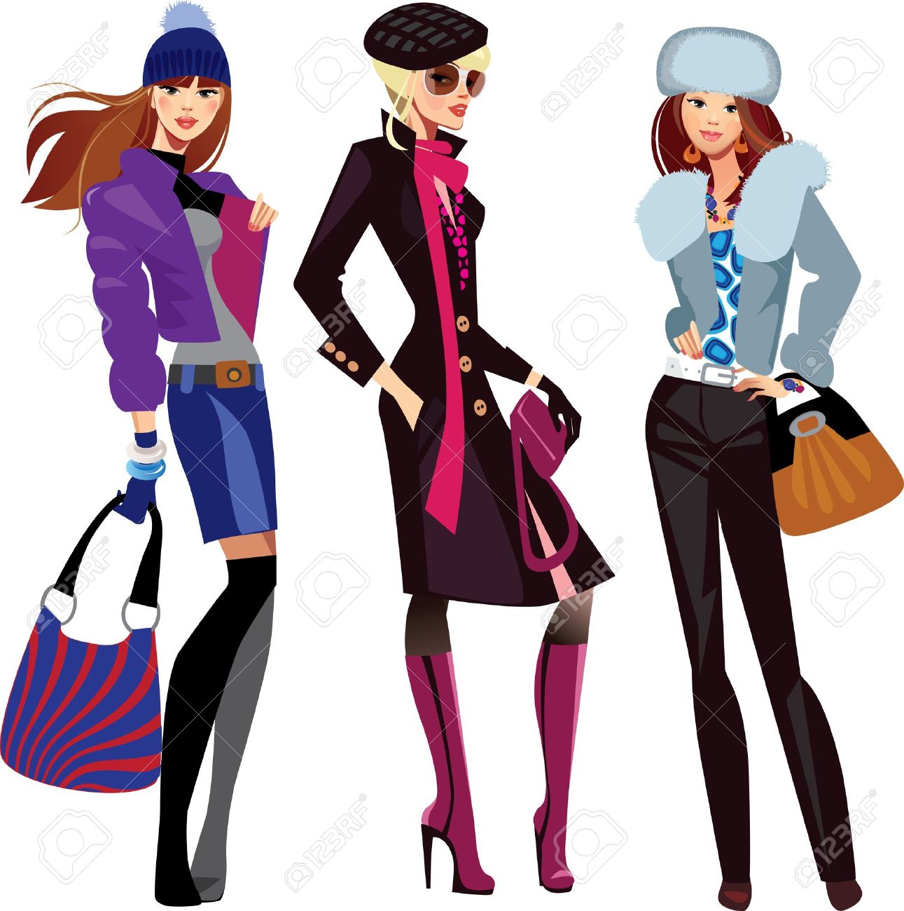 Fashion For Women Clip Art - Fashion women in winter clothes stock vector 13033849