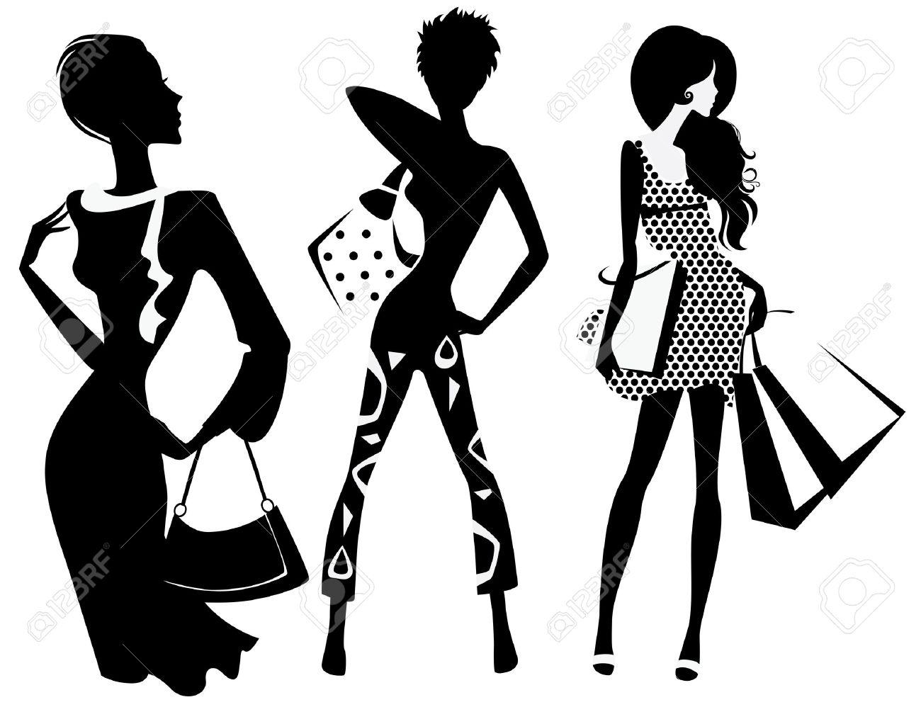 silhouette de jeune fille de la mode avec des sacs