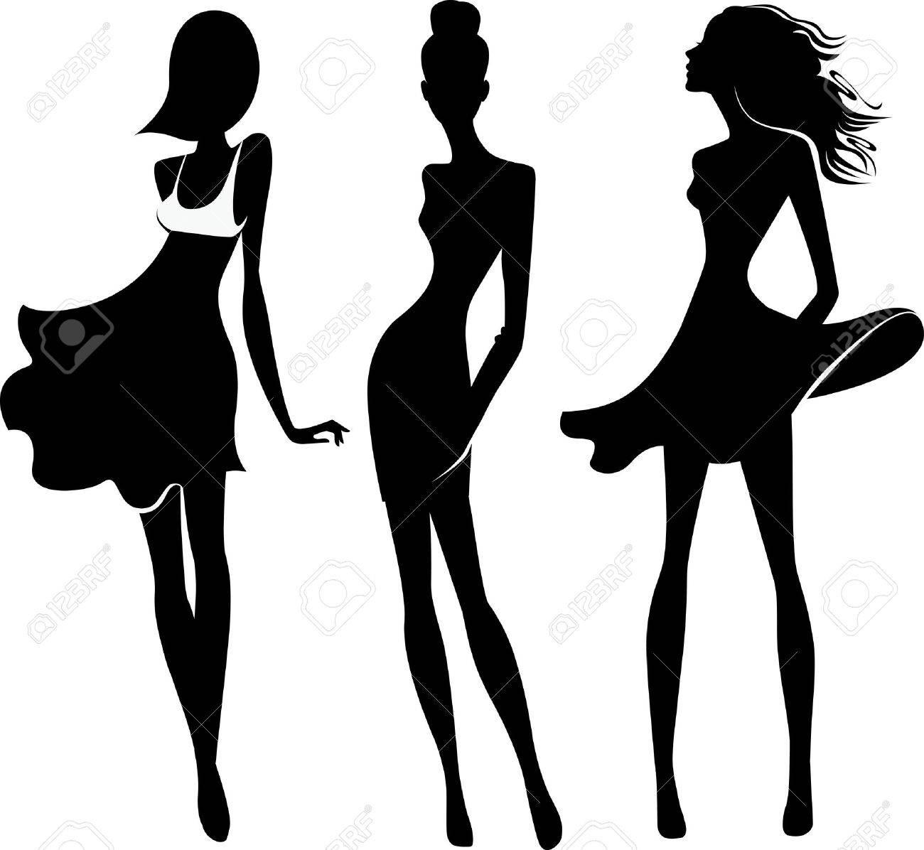 Banque dimages , la silhouette des filles de la mode