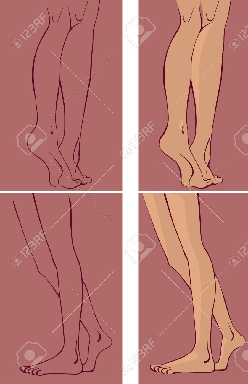 Drawing Of Female Legs, Side View And Rear Royalty Free Cliparts ...