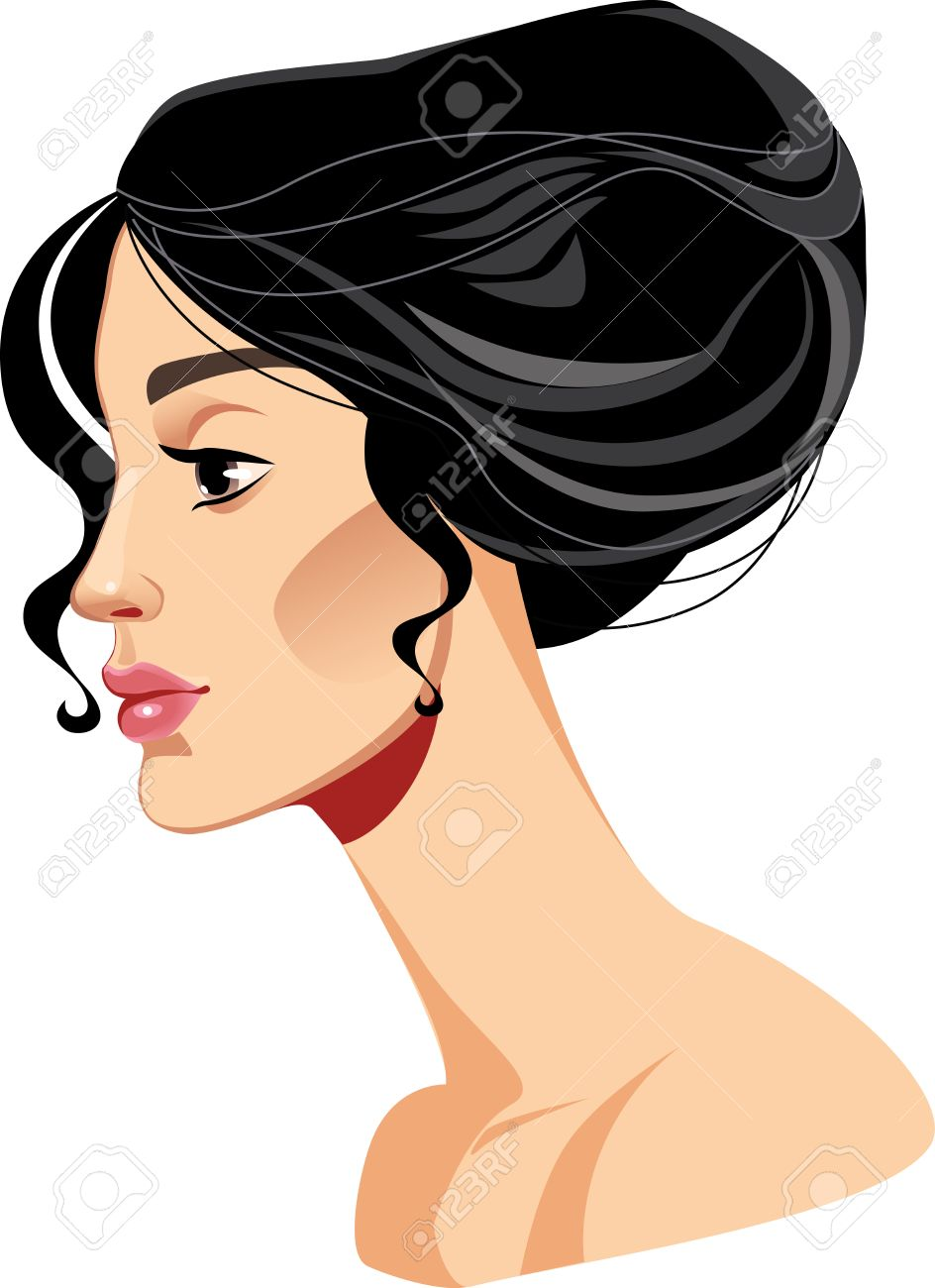 Beauty Face Girl In Profile Beautiful Woman Hairstyle Brunette Stock Vector