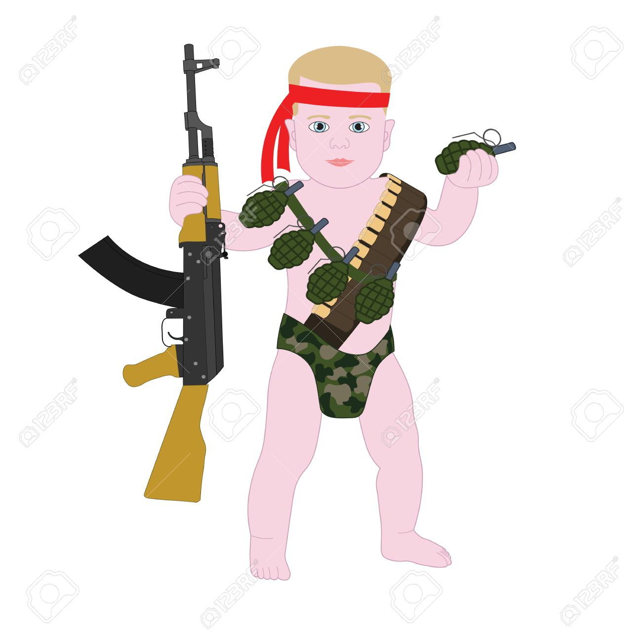 a493ff4d1 Baby boy soldier in diapers. Funny cartoon military Baby Rambo. Stock  Vector - 53521946