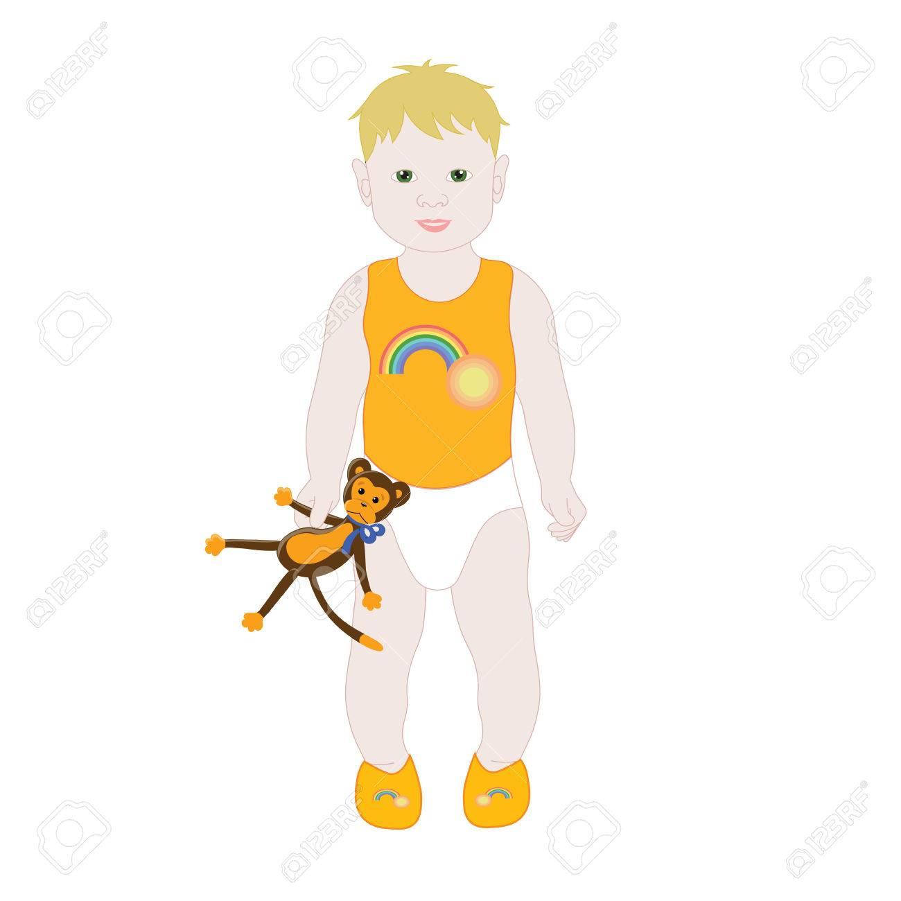 Un Lindo Y Pequeño Al Niño En Pañales Y Una Camiseta Con El Mono De ...