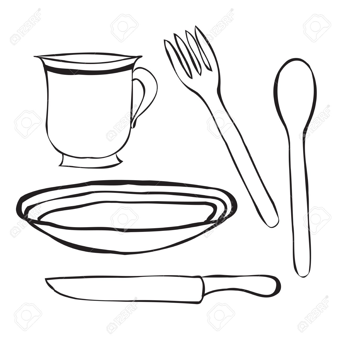 Table setting contours. Tableware cartoon . A simple spoon a plate fork knife and Cup.  sc 1 st  123RF.com & Tableware Cartoon . A Simple Spoon A Plate Fork Knife And ...