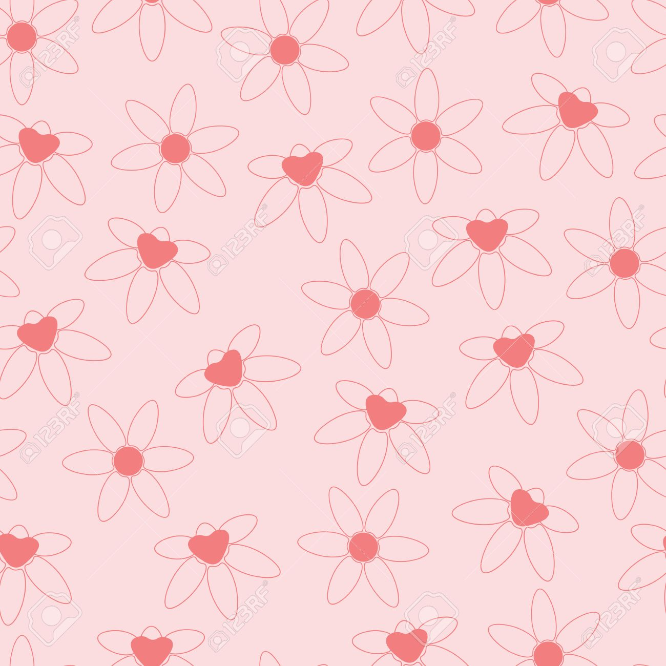 Background Simple Flowers Pink Cartoon Of Iris And Chamomile