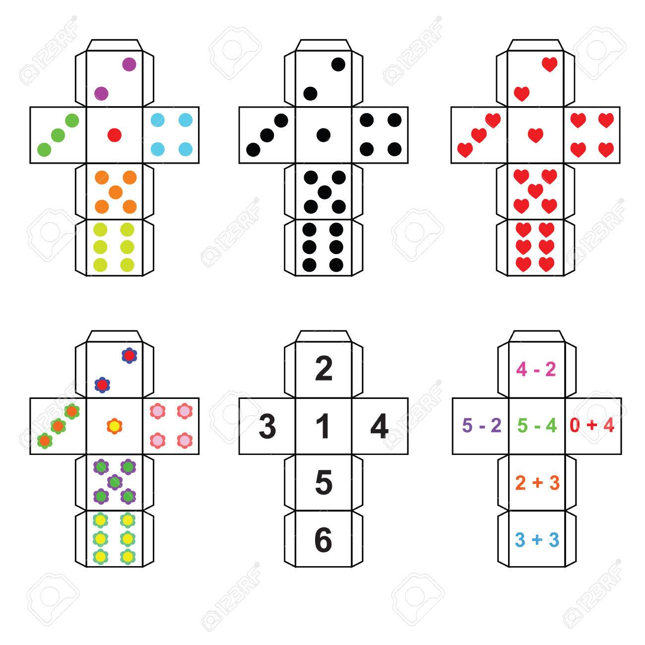 A set of six variants of dice paper template cut out fold and a set of six variants of dice paper template cut out fold and glue stock maxwellsz
