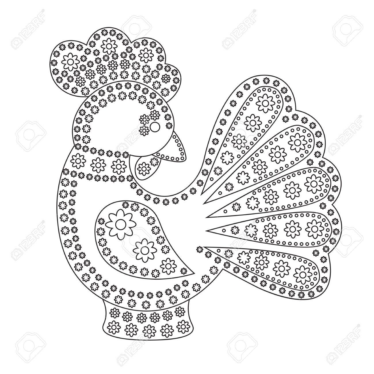 Dibujos Animados Para Colorear Gallo Ornamento Flores Símbolo De