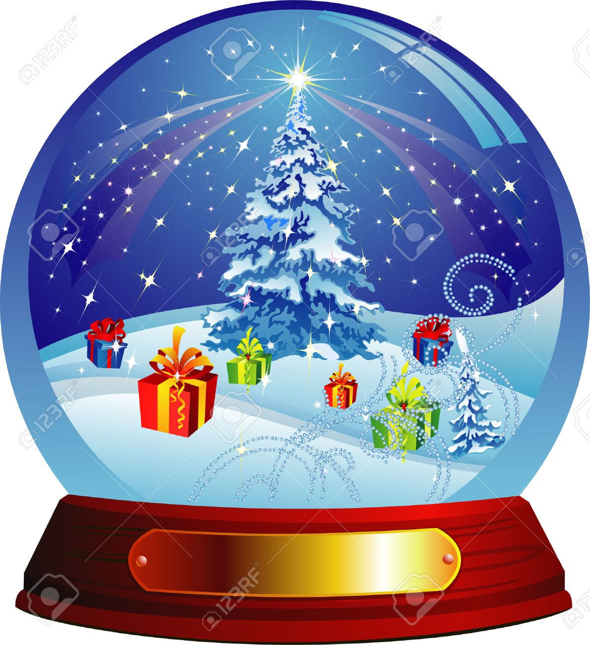 Vector snow globe with christmas tree and presents within Stock Vector - 3986576