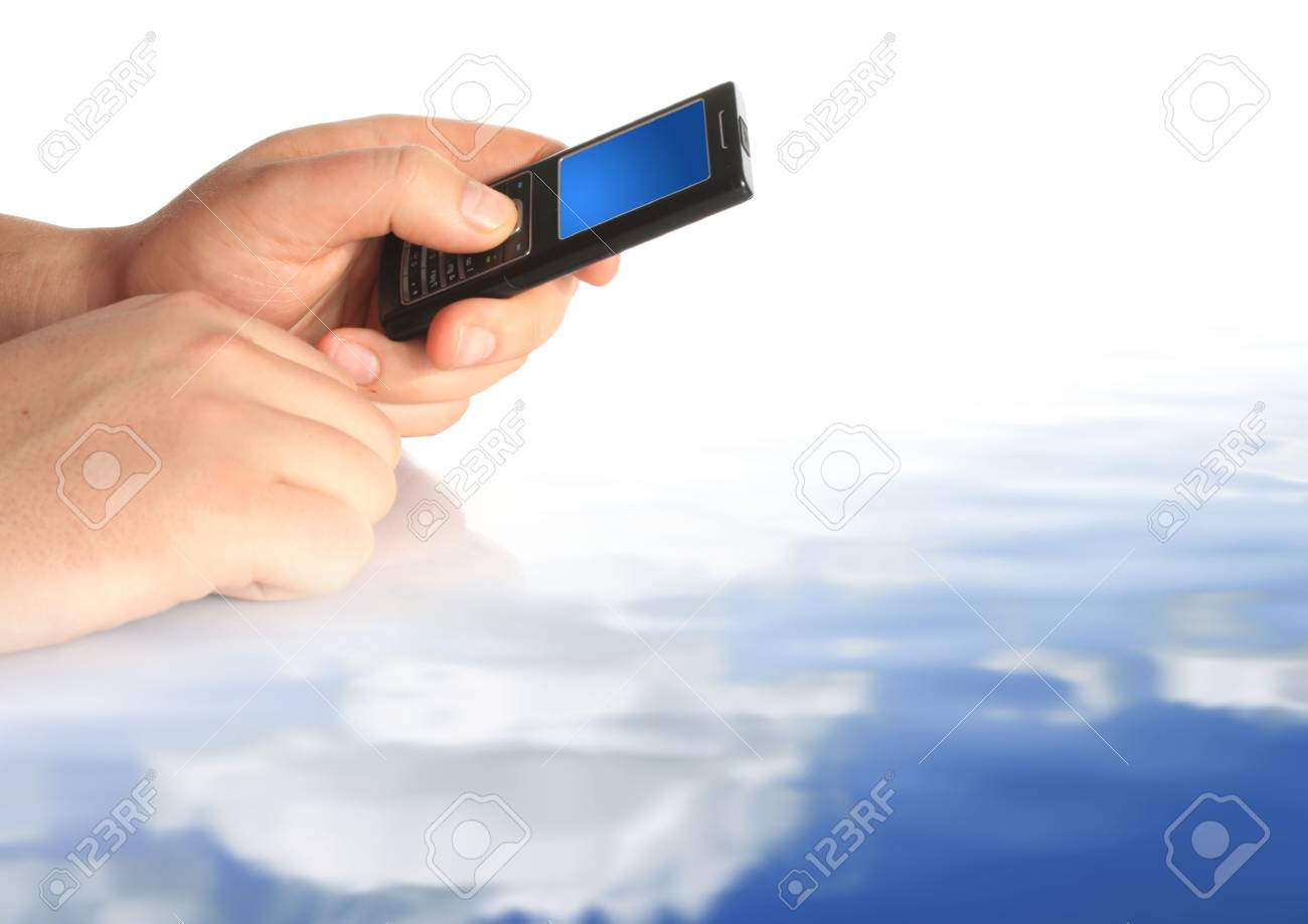 Communication conceptual image. Mobile phone in hand. Stock Photo - 4895098