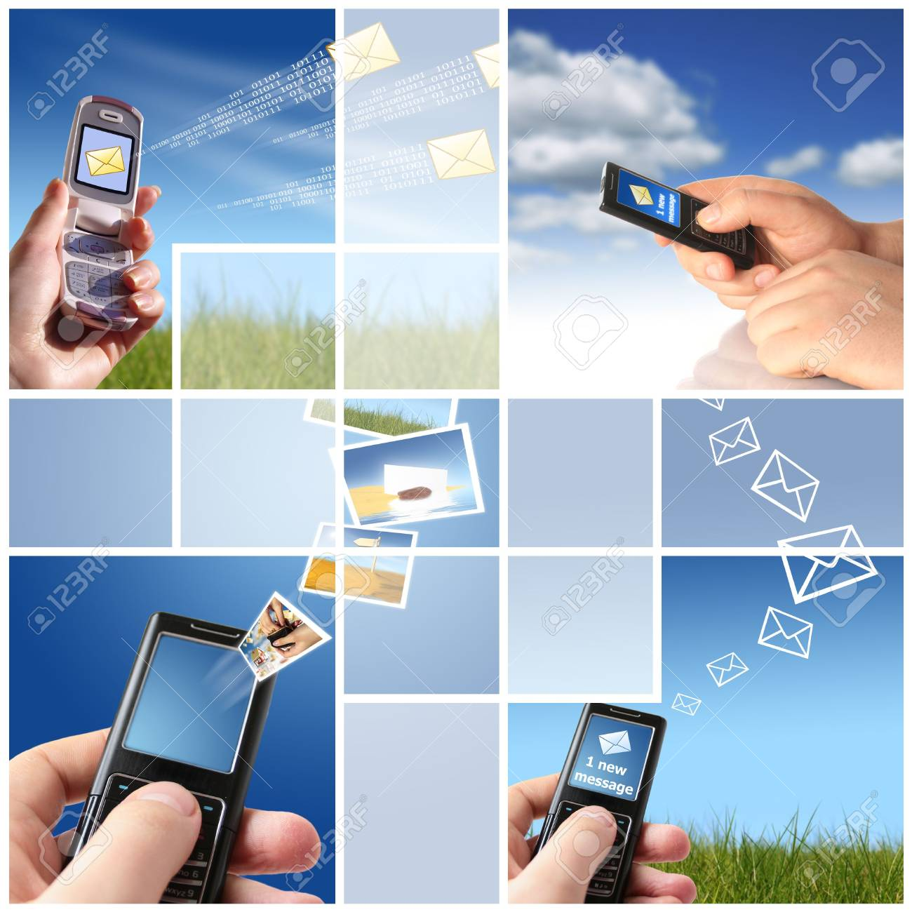 Collage. Communication concept. Mobile phone in hand over sky. Stock Photo - 4995994