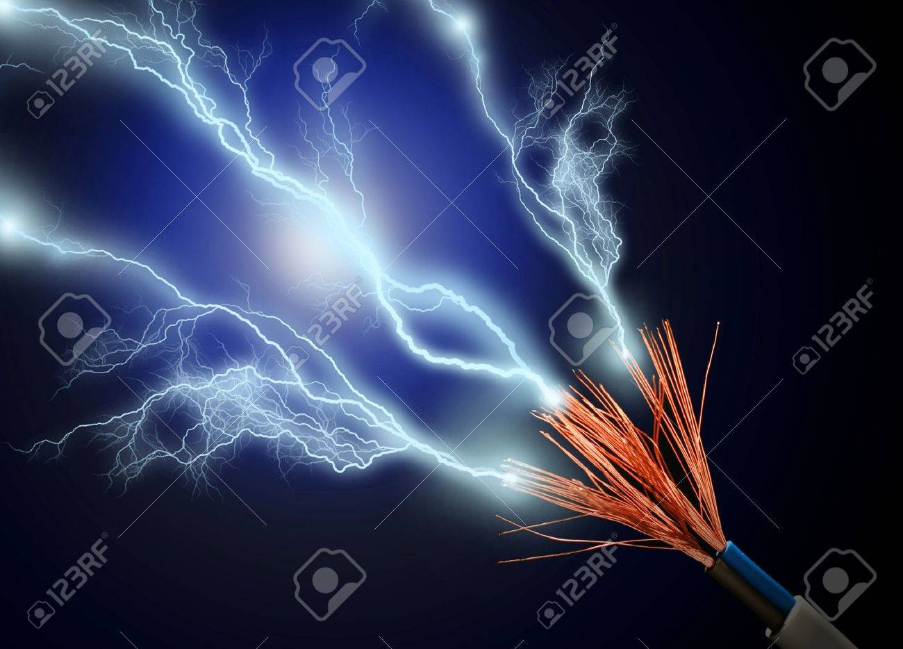 Wire and electric discharge over black background. Stock Photo - 8848688