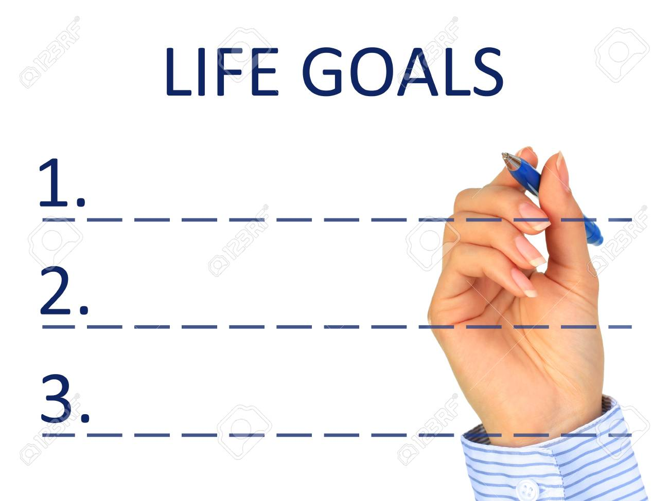 Goals concept. Hand with pen writing goals. Stock Photo - 10709655