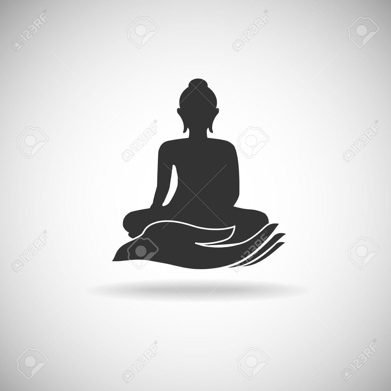 bouddha dessin bouddha sur la silhouette de la main illustration