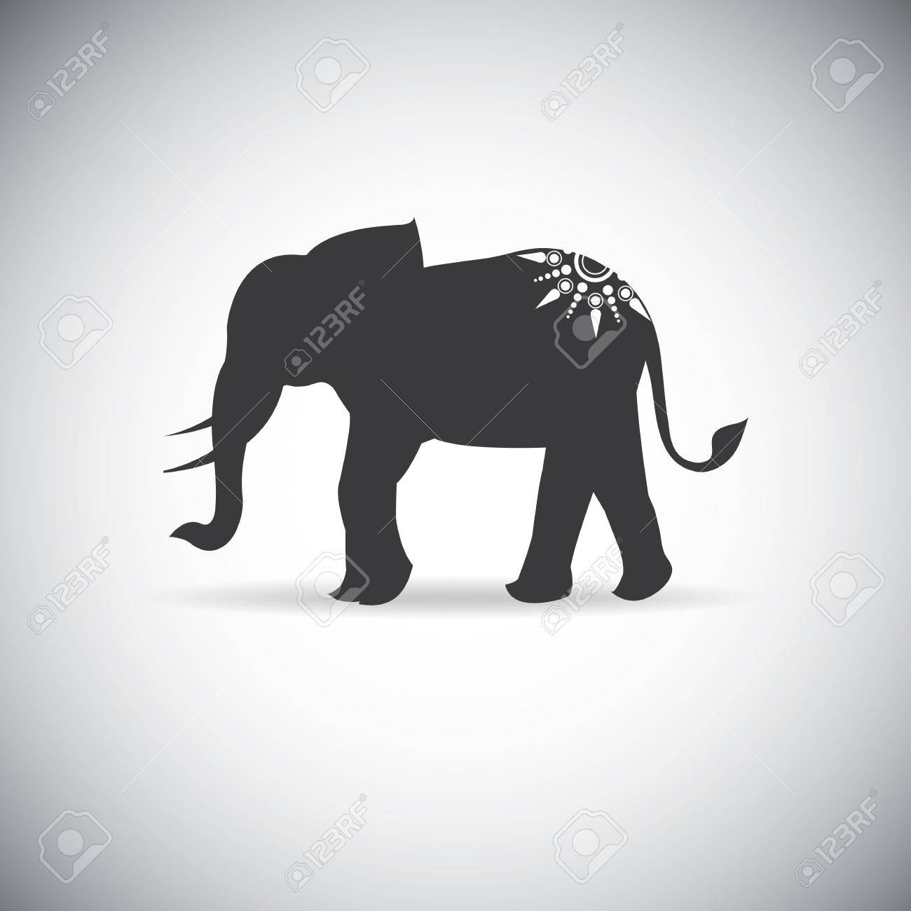 silhouette elephants with tattoo royalty free cliparts vectors and rh 123rf com Elephant Outline Tattoo African Elephant Tattoo