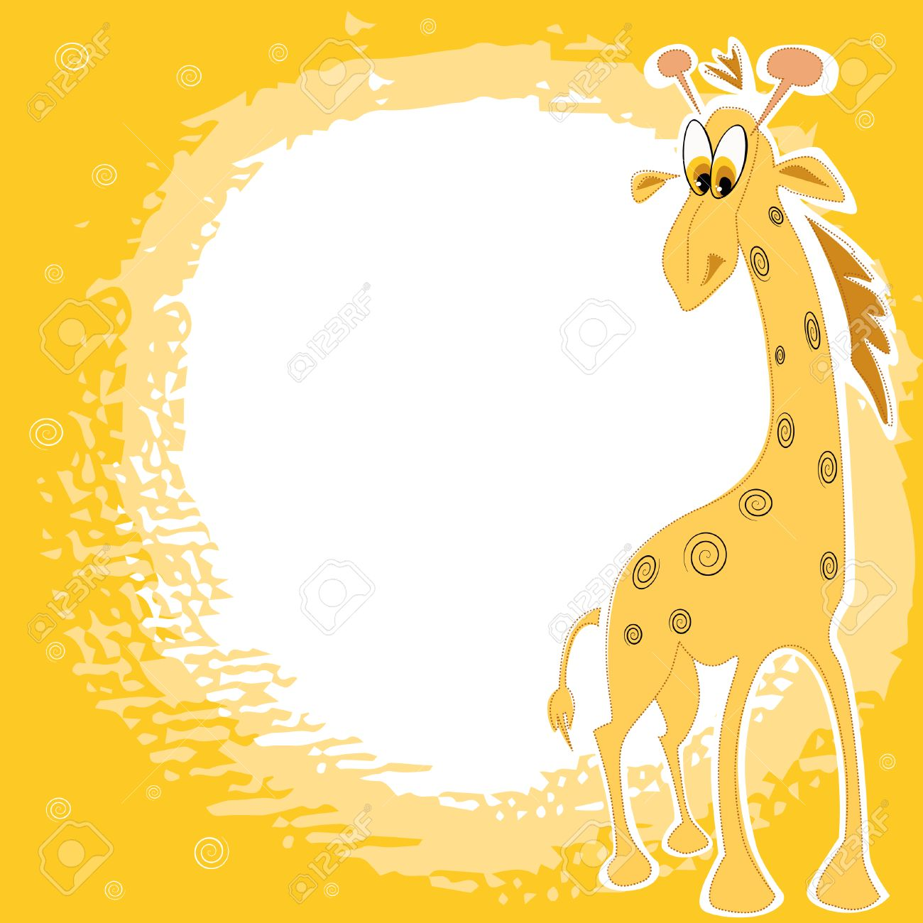 Vector Card Design With Cute Giraffe On A Spotted Yellow Background ...