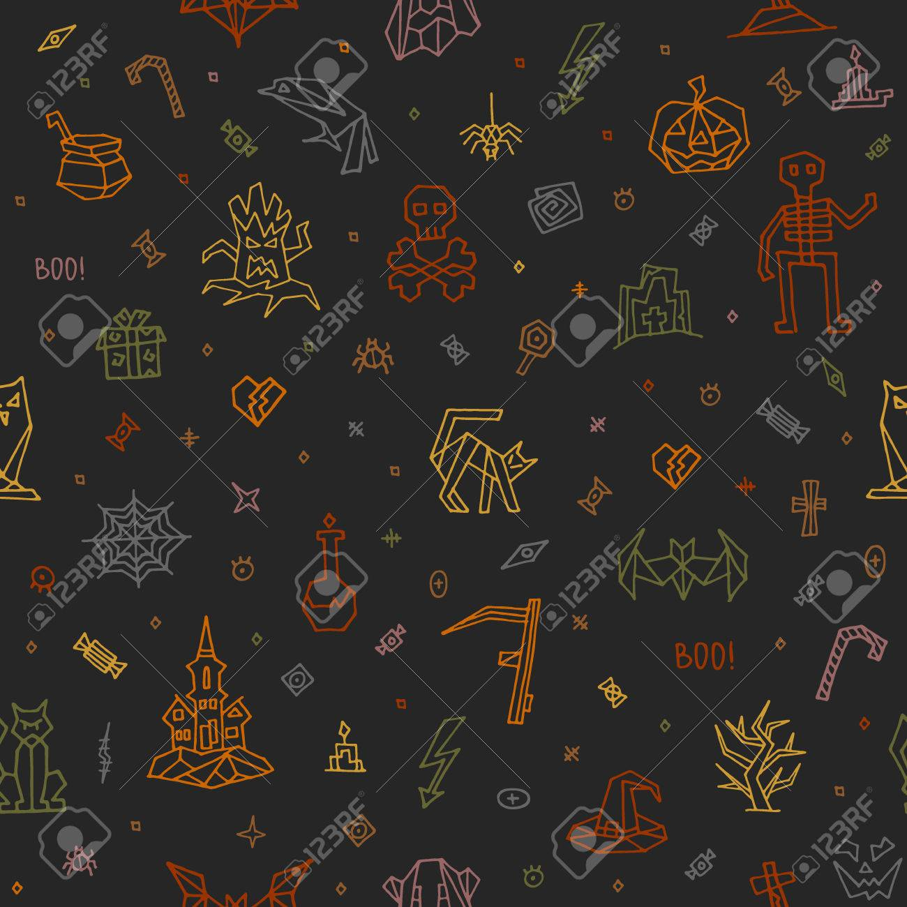 Halloween Colorful pattern and wallpaper. Hand drawn halloween icons and symbol: castle, jack