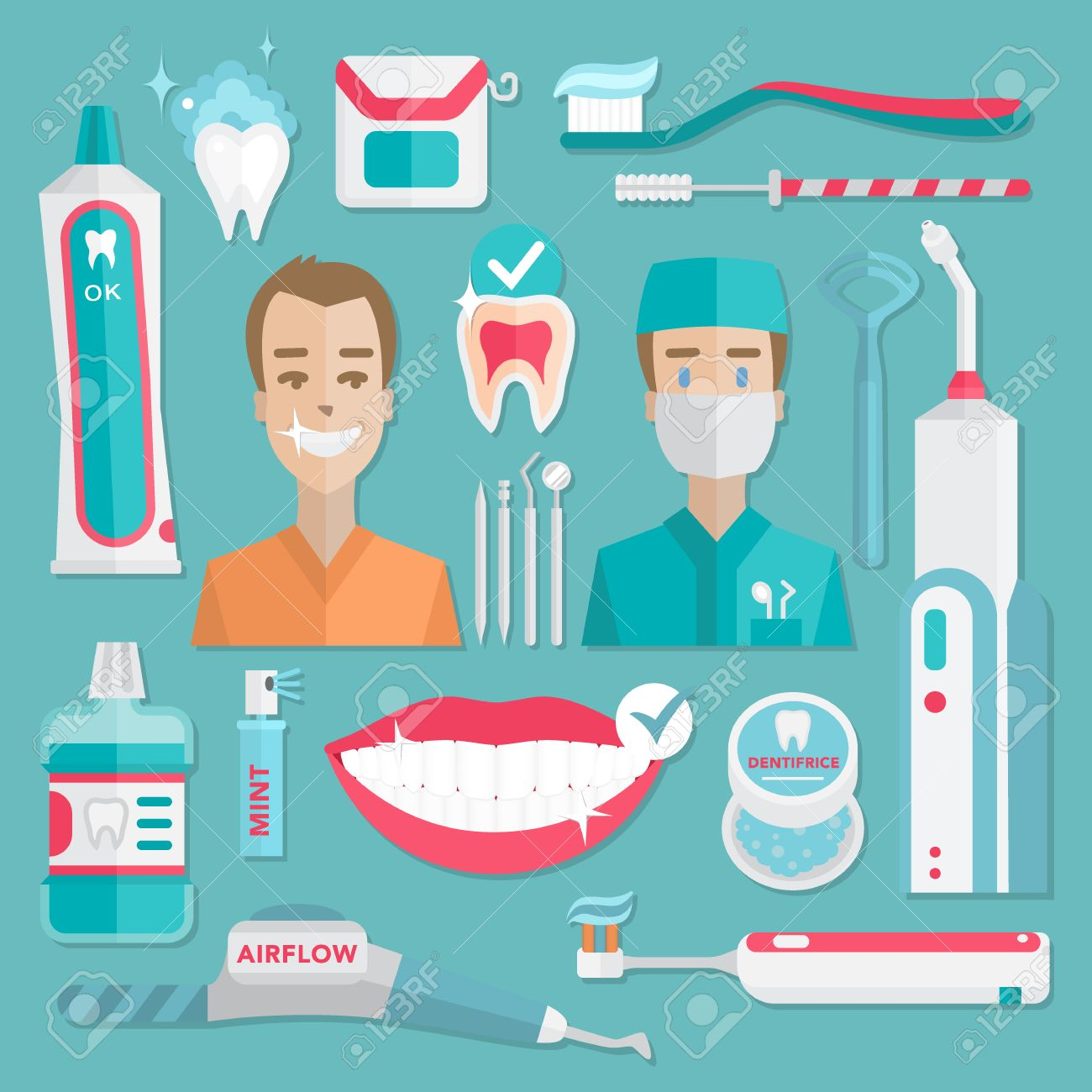Medical Teeht Hygiene Infographic Dentist And Patient With Tools Instruments Vector Dental Care