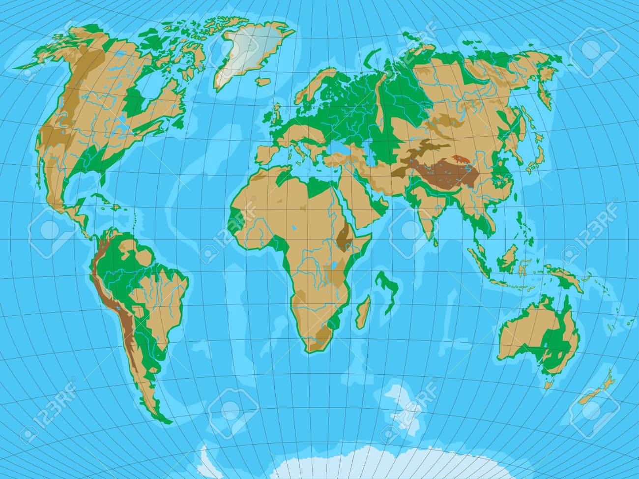 World map with relief all reliefs are separated in editable vector world map with relief all reliefs are separated in editable layers vector illustration gumiabroncs Gallery