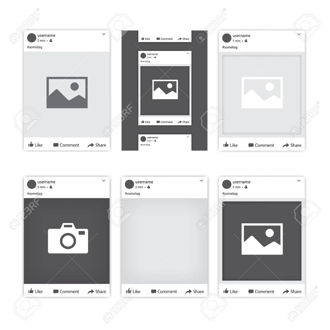 Satz Von Verschiedenen Sozialen Netzwerk-Fotorahmen Für Facebook ...