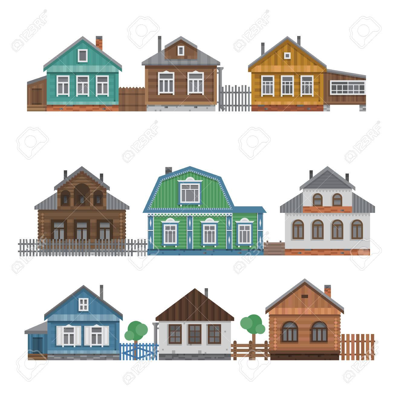 Country Houses Collection. Colorful Village Russian Old Houses Set.  Countryside Colored House. Cute