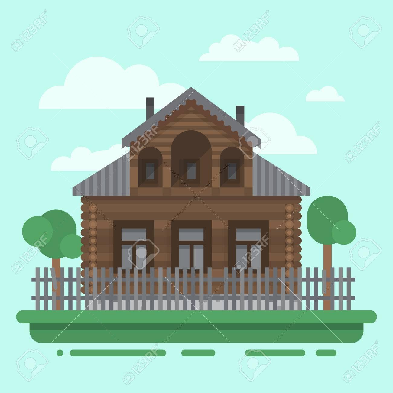 Amüsant Russisches Holzhaus Dekoration Von Country Brawn Mit Bäumen Und Zaun. Buntes