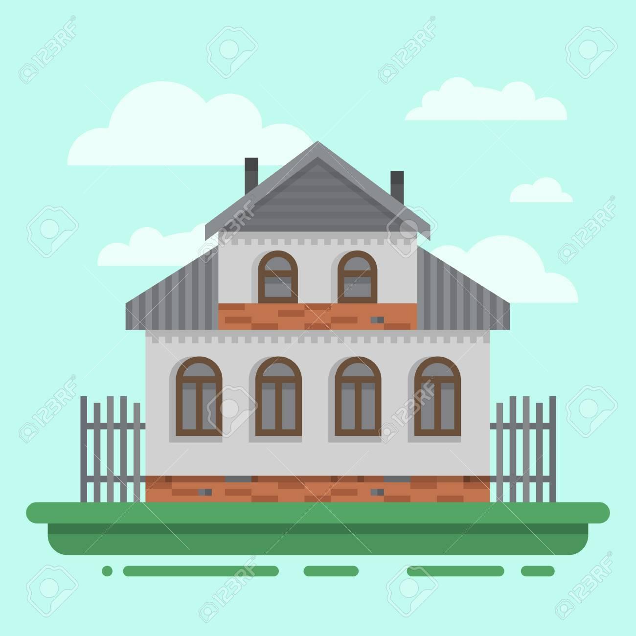 Astounding Russisches Holzhaus Beste Wahl Altes Graues Des Landes Mit Zaun. Buntes
