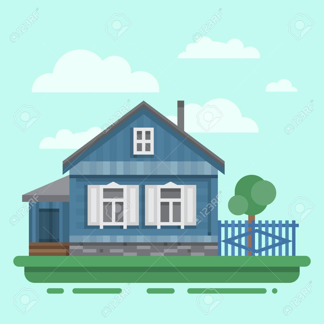 Fabelhaft Russisches Holzhaus Sammlung Von Land Altes Blaues Mit Zaun, Bäume. Bunte