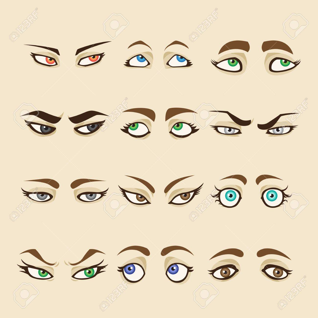 Set of cartoon girl eyes isolated on skin color background collection of woman eyes
