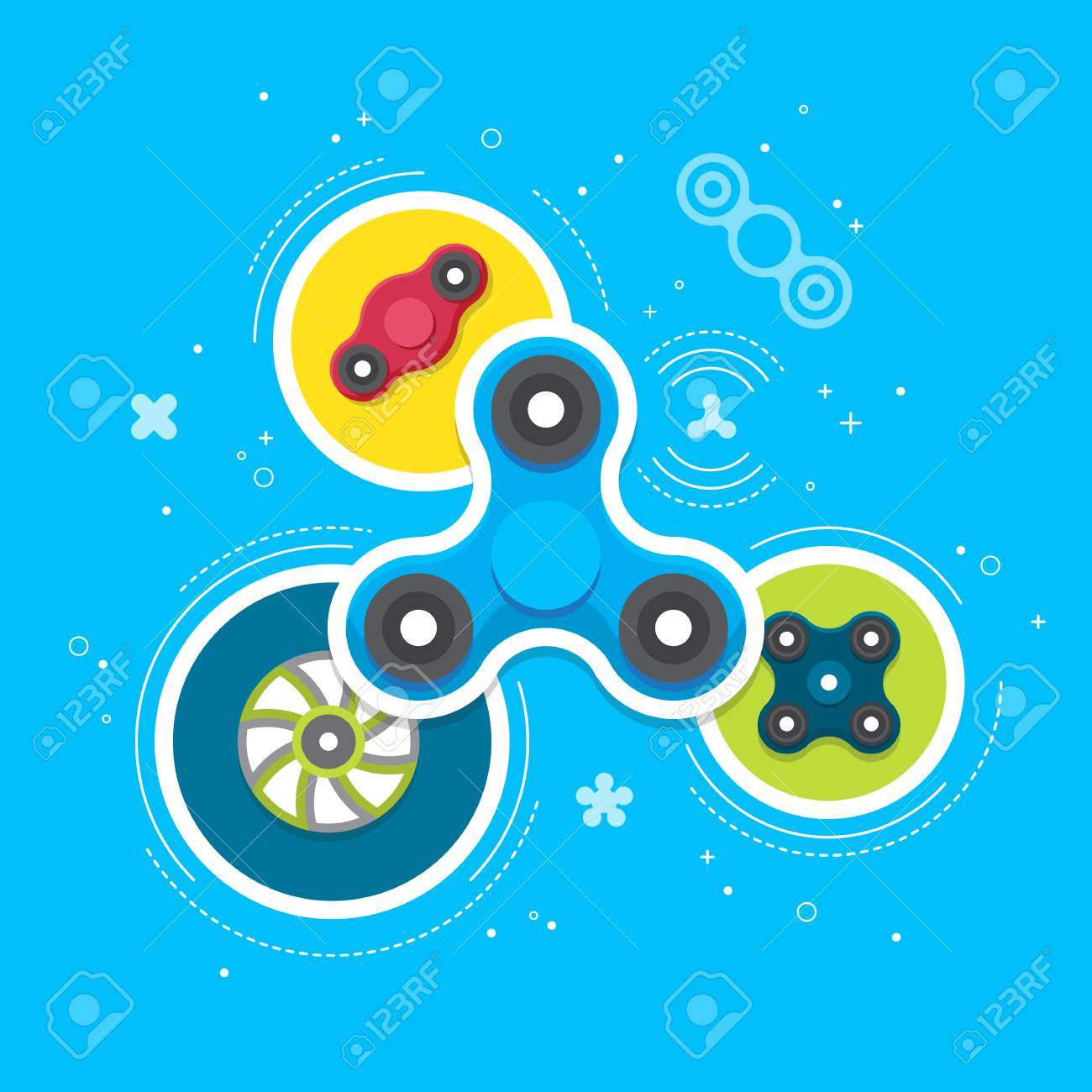 Hand Spinners Banner And Leaflet Toy For Increased Focus Stress Royalty Free Cliparts Vectors And Stock Illustration Image 87218240