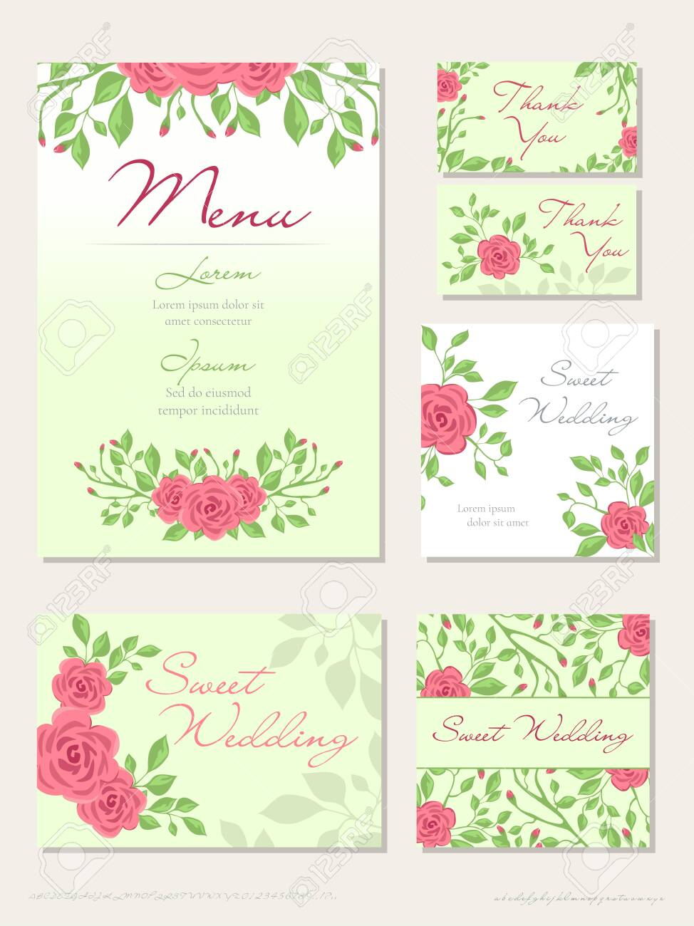 Vector set of Wedding design concept with Invitation, menu, Rsvp, cute card, envelope, cover, poster. Floral wedding design concept with Rose flower, eucalyptus, romantic trendy greenery bouquet - 123789330