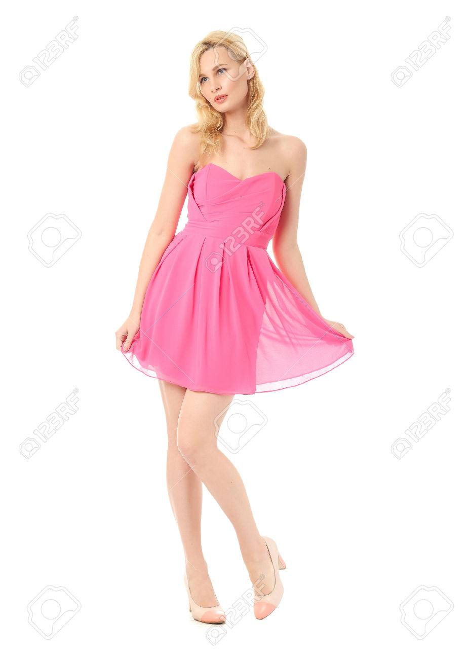 Fashion Model Wearing Pink Prom Dress Stock Photo, Picture And ...