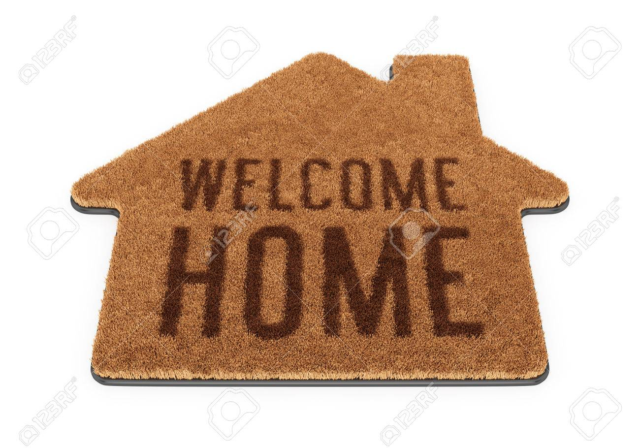 Brown House Shape Coir Doormat With Text Welcome Home Isolated ...