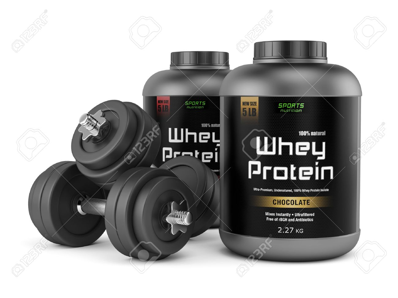 Pair Of Dumbbells And Jars Of Whey Protein Isolated On White Stock Photo Picture And Royalty Free Image Image 31949084