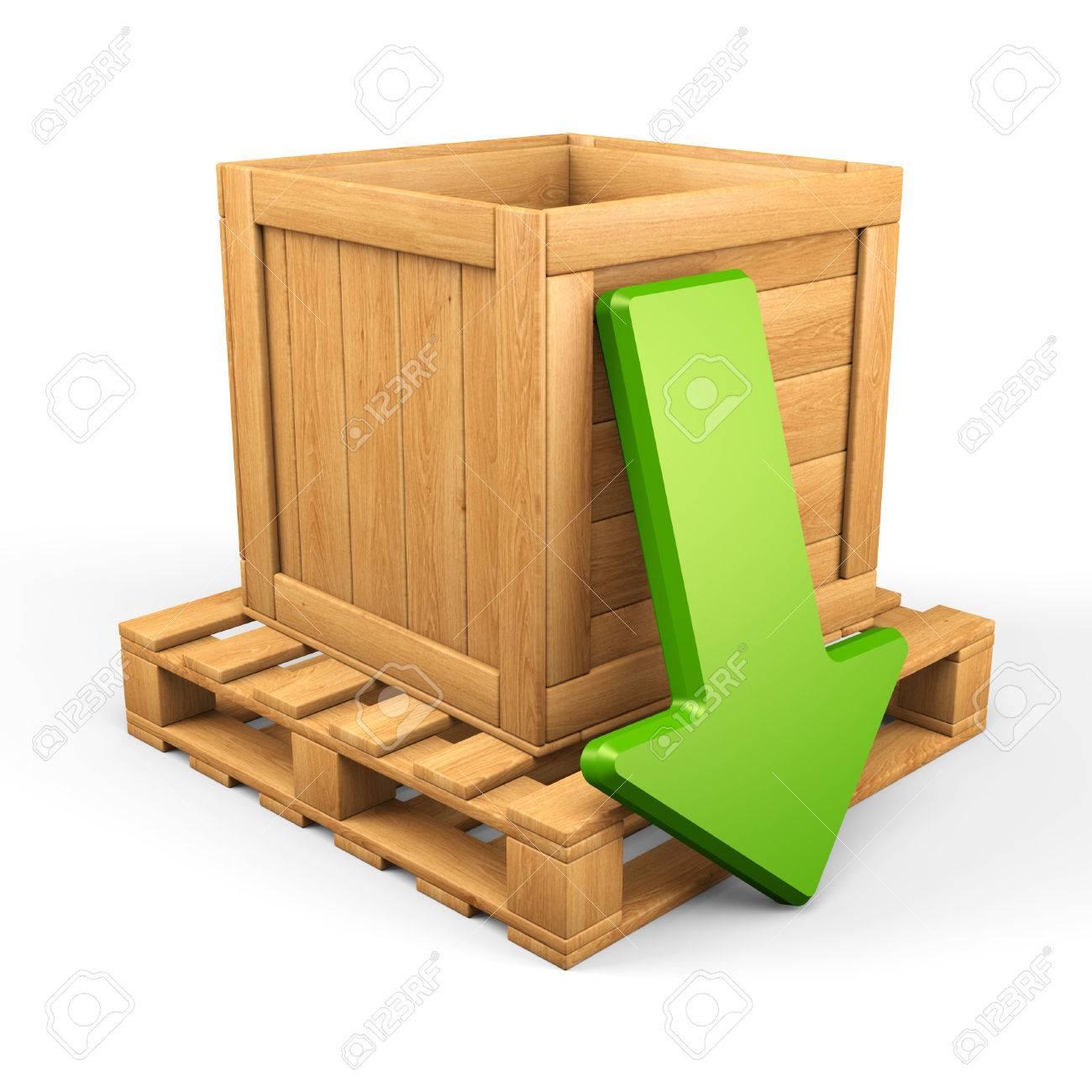 foto de archivo sube concepto de la caja de madera en el palet y la flecha verde aislado en blanco d ilustracin