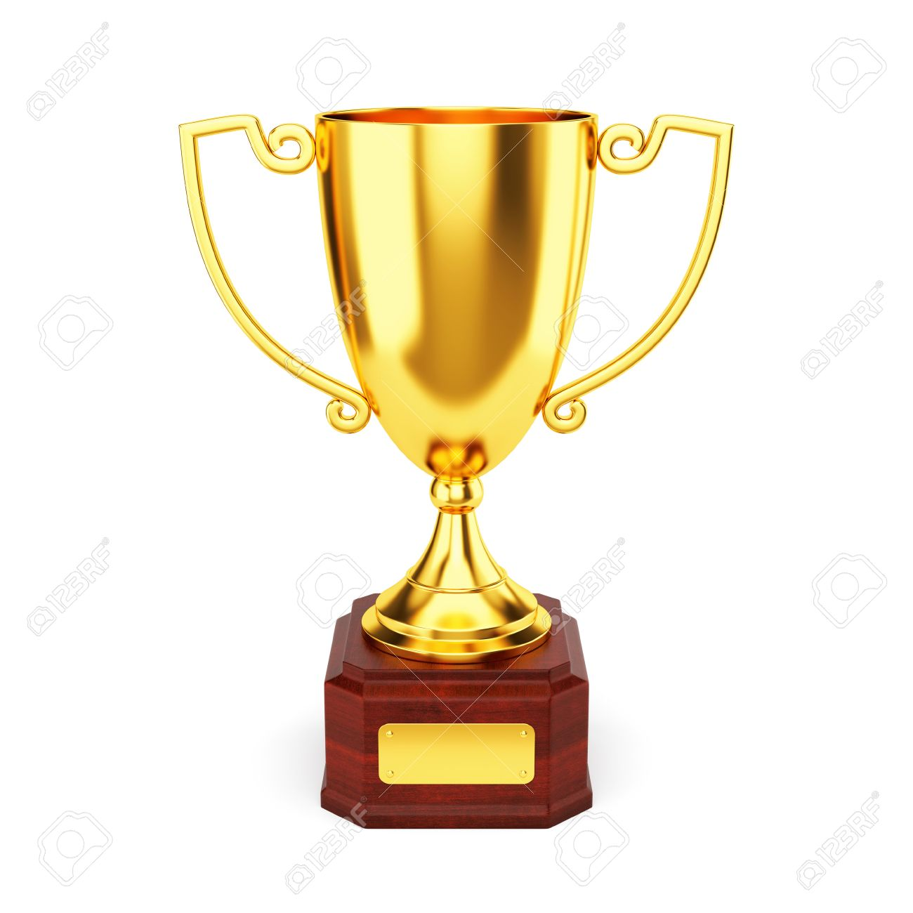 Golden Trophy Cup Isolated On White Background. 1st Place Award ...
