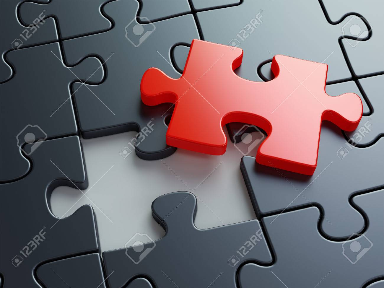 Missing puzzle piece. Business creativity teamwork and solution concept. 3D illustration - 69437847