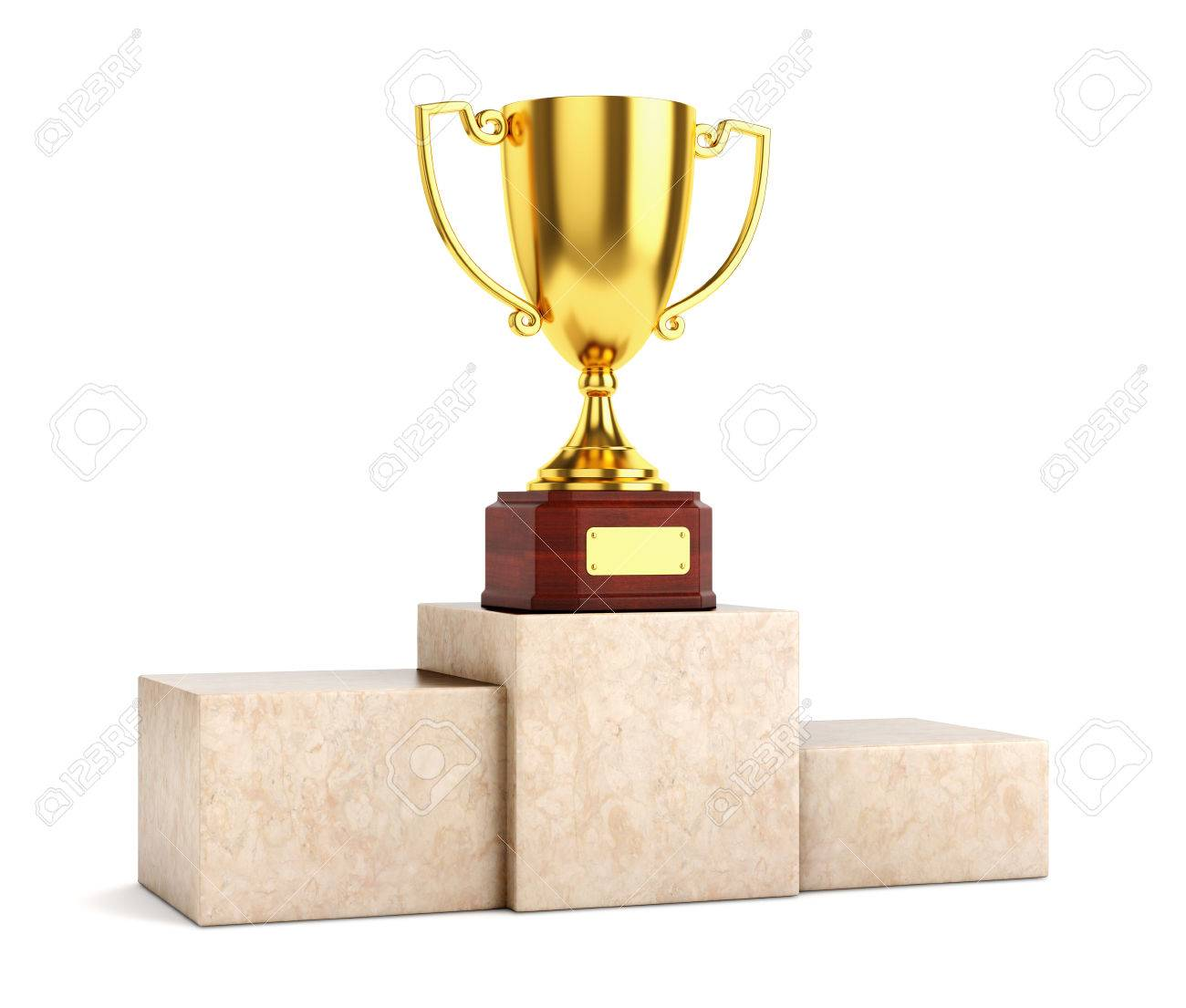 白い背景に分離された大理石の台座の上のゴールデン賞杯トロフィー ...