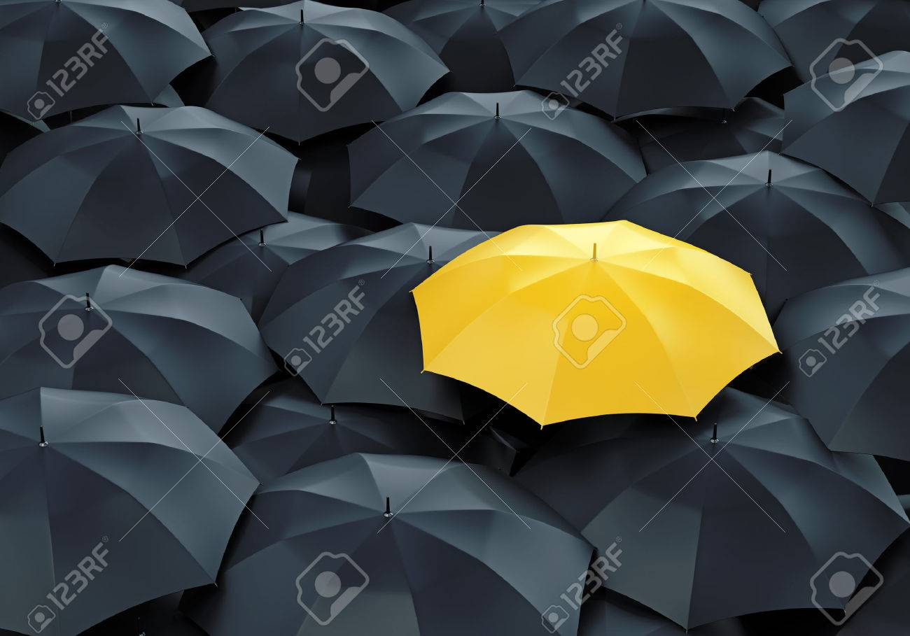 Unique yellow umbrella among many dark ones. Standing out from crowd, individuality and difference concept. - 41967696