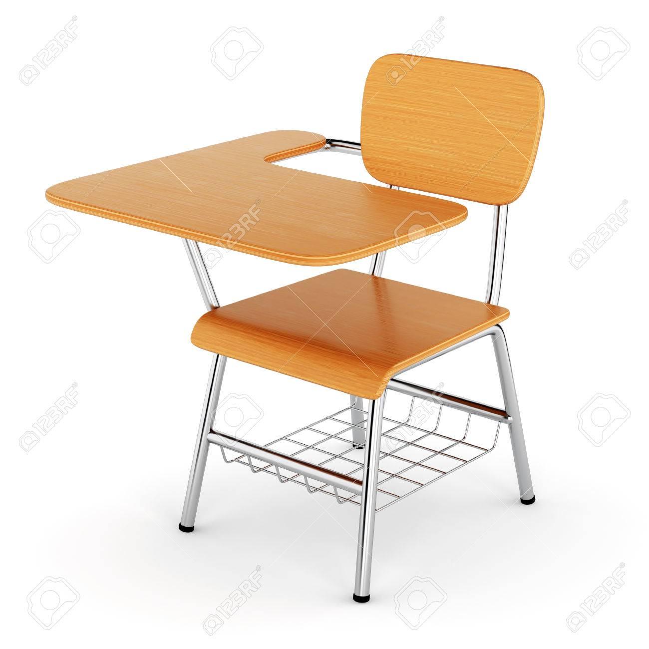 Stuhl schule  Schule Schreibtisch Mit Stuhl Isoliert Auf Weißem Hintergrund. 3D ...