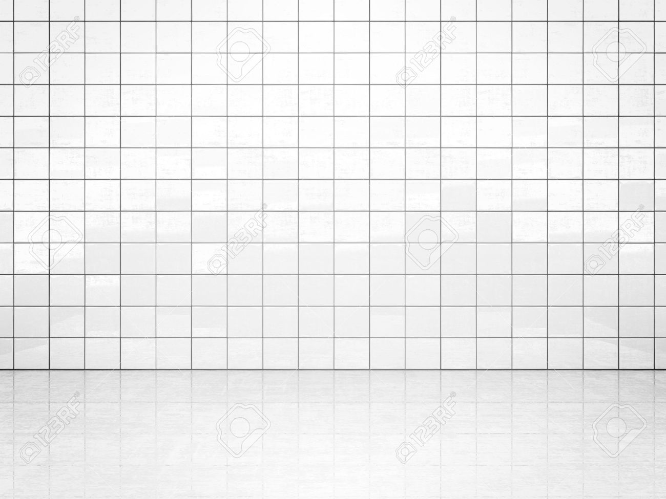 White ceramic tile wall and concrete floor. Bath or toilet room background. 3D illustration - 62261414
