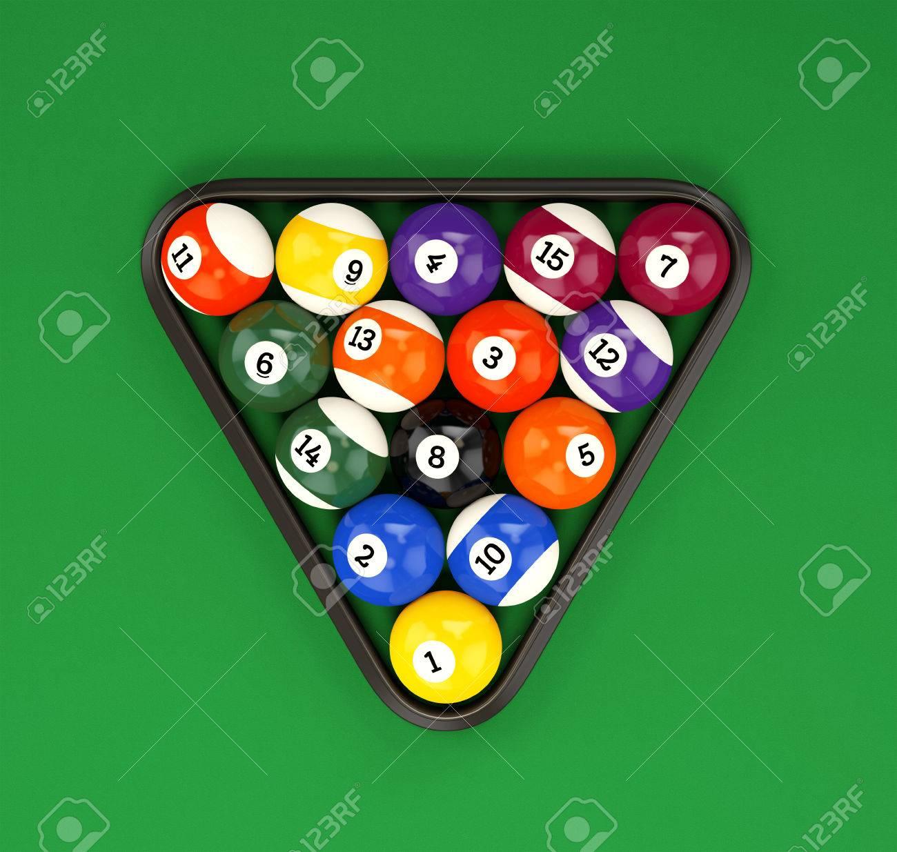 Pool Ball Pyramid On Green Billiard Table Cloth. Group Of Glossy Colorful  Retro Game Balls