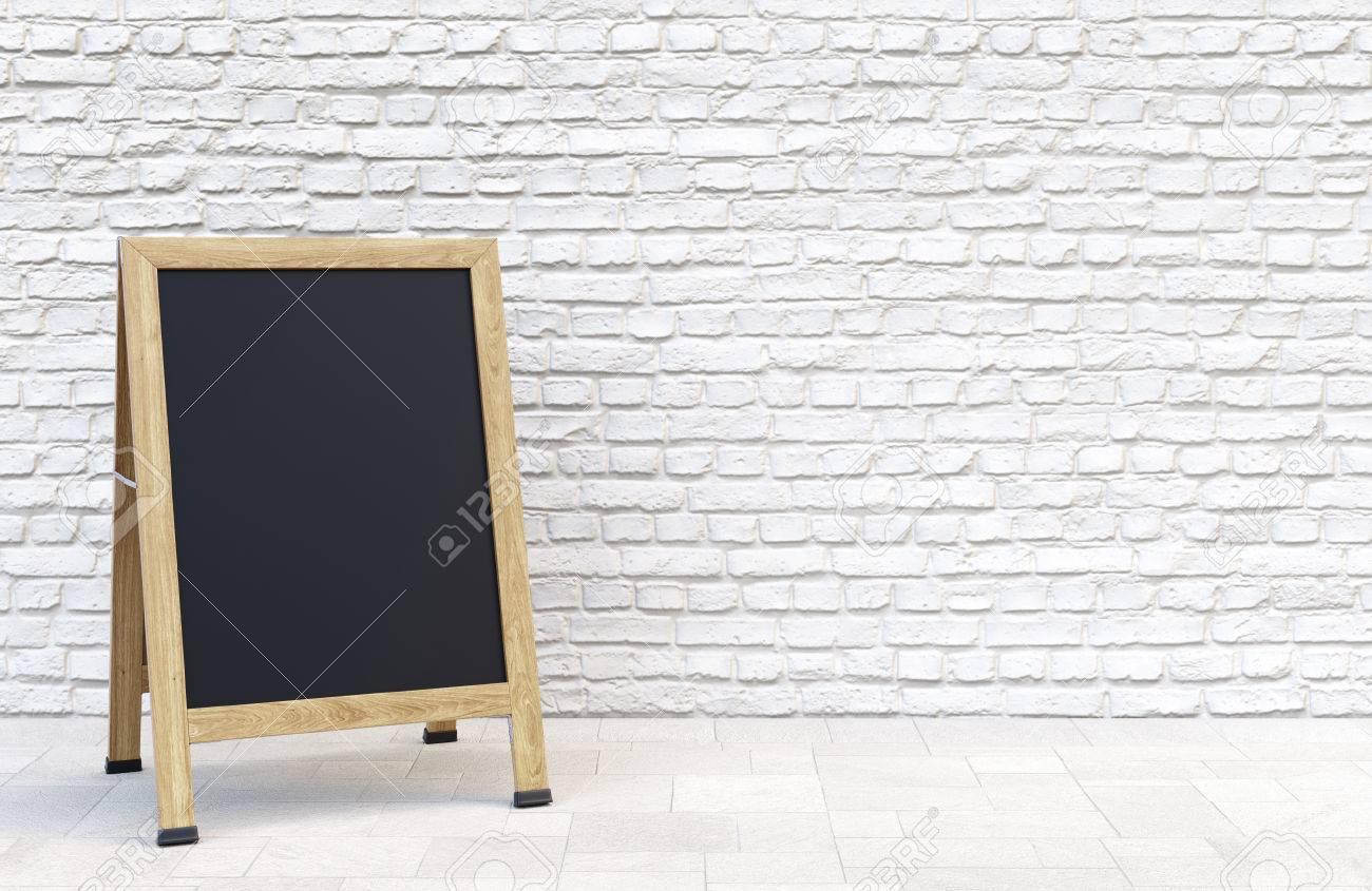 Wooden Street Sidewalk Sign With Blank Menu Chalk Blackboard Stock
