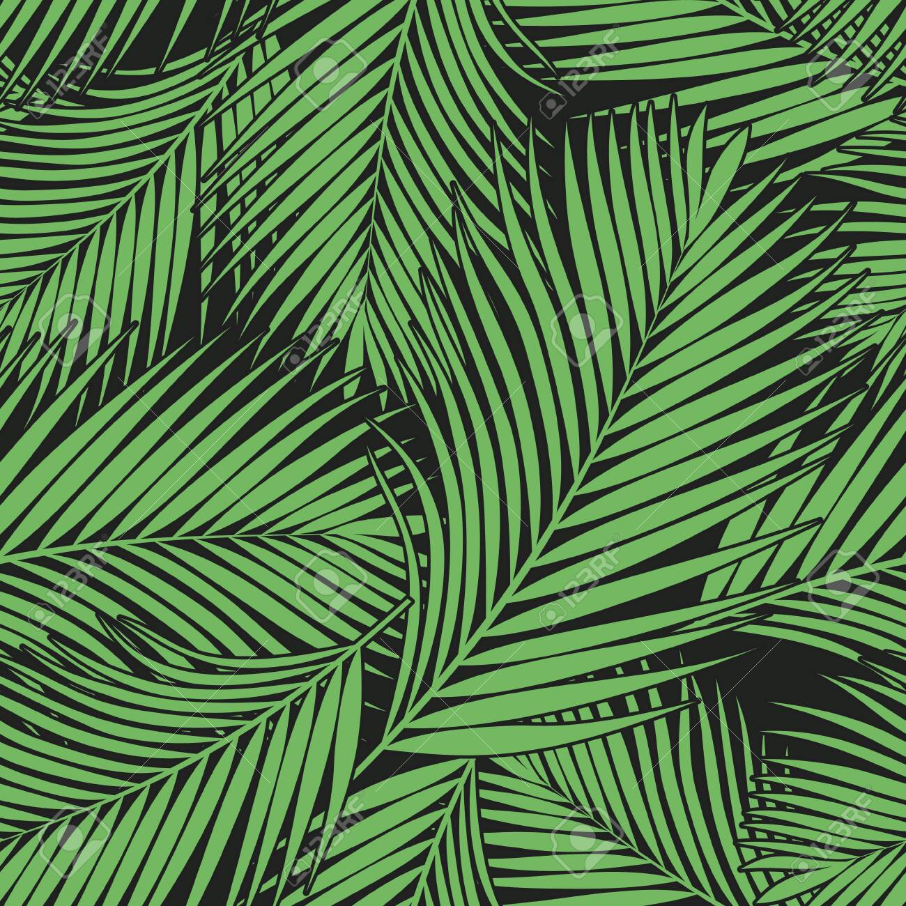 Green tropical palm leaves texture on dark backdrop. Seamless vector background. Botanical illustration - 142380608
