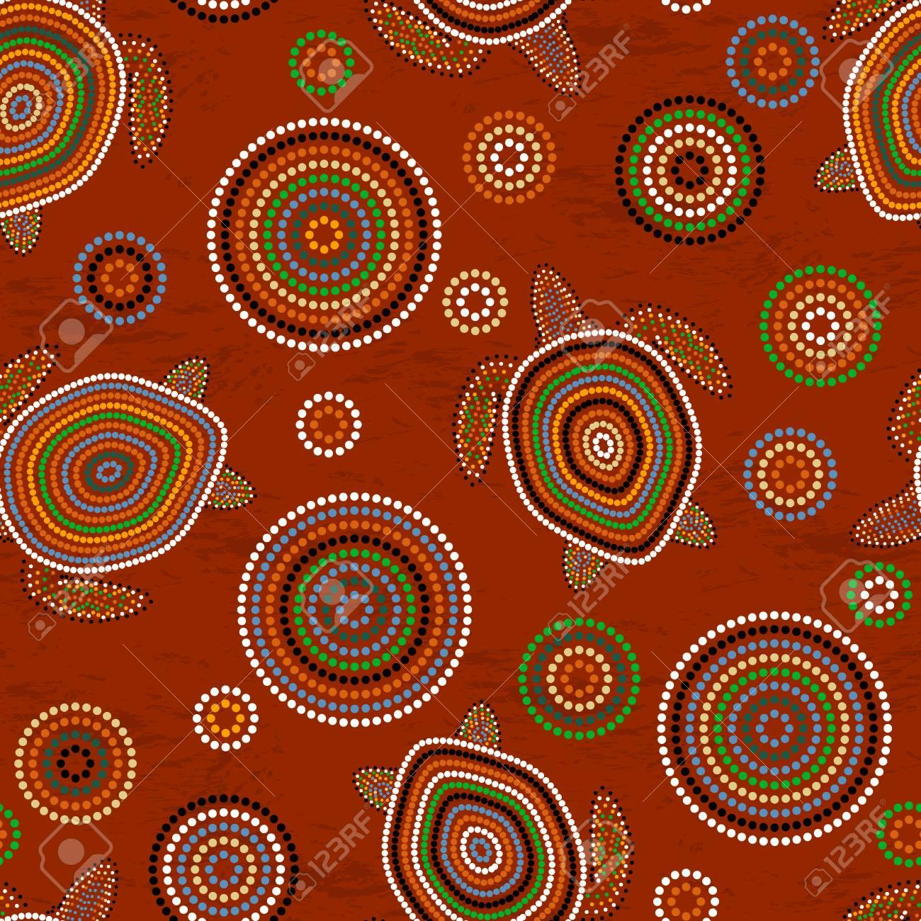 Australian Aboriginal Art Point Drawing Sea Turtles Seamless