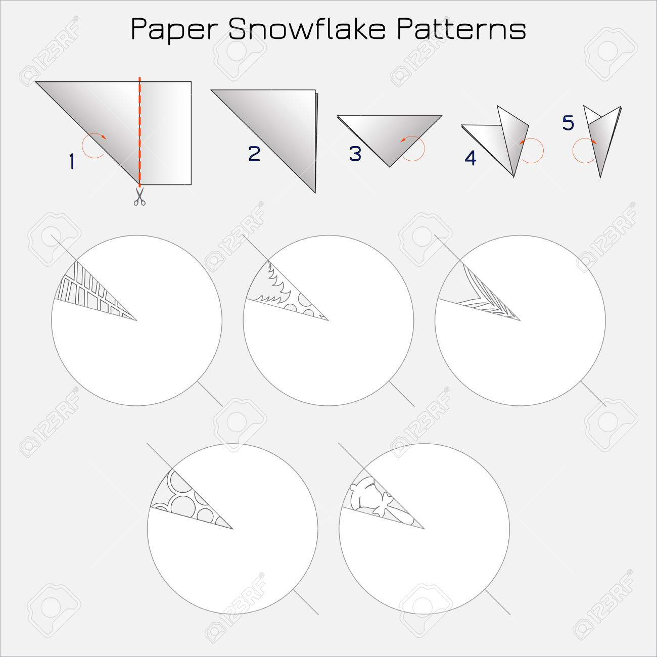 Paper Cut Snowflake Patterns  Step-by-step instruction for paper